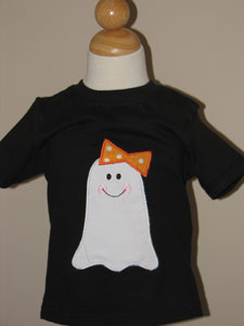 Ms. Ghost Halloween Applique Shirt
