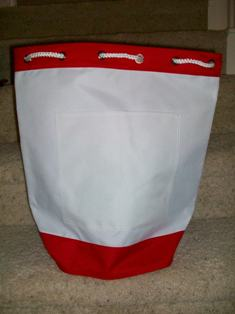 Red and White Beach Tote