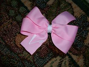 Monogram Pink Hair Bow- Easter/ V-Day