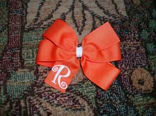 Orange Monogram Hair Bow