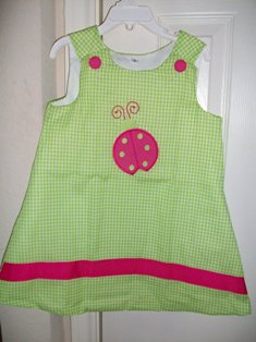 Boutique Aline Applique Lime Green and Pink  Ladybug Dress