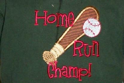 Custom Applique Baseball Home Run Champ Shirt