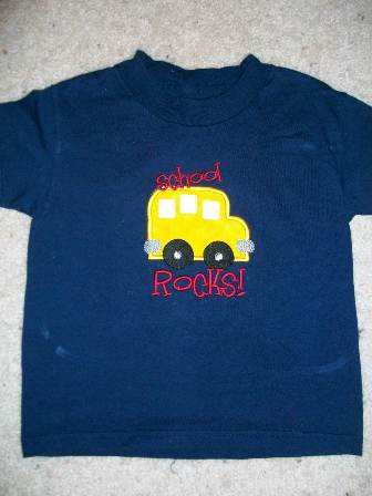 School Bus Applique T Shirt
