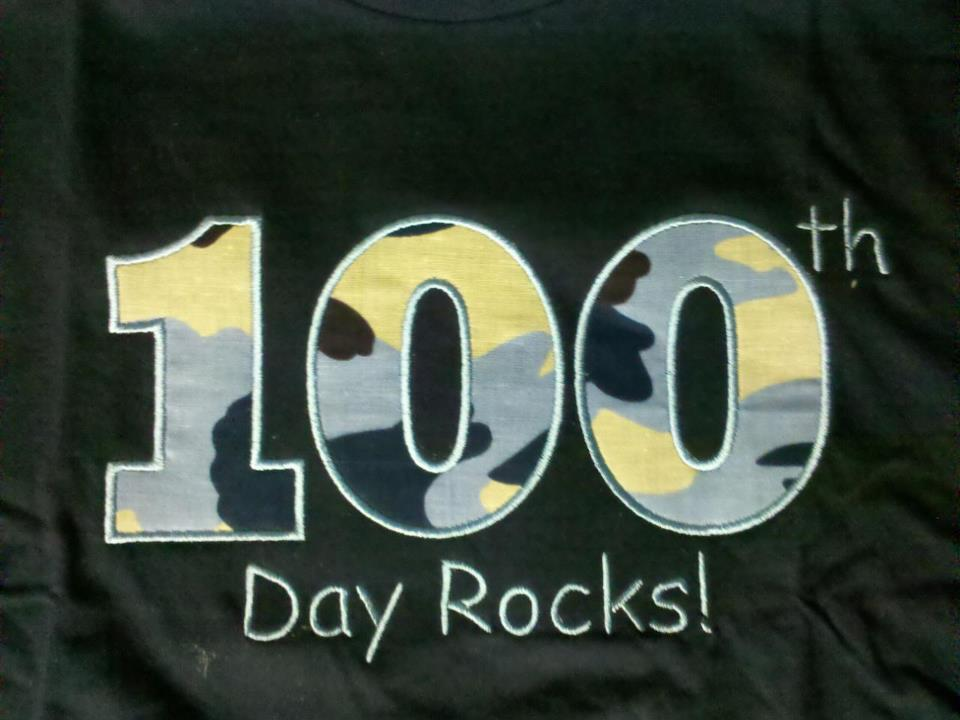 Custom Applique 100th Day Rocks
