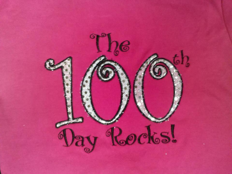 The 100th Day Rocks! Custom Applique School Shirt