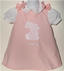 Custom Aline Easter Bunny Dress (light pink)