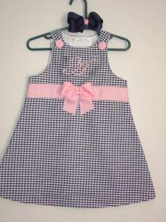 Boutique Aline Jumper Dress- Navy Gingham