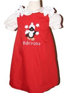 Custom Boutique Penguin Aline Dress (red)