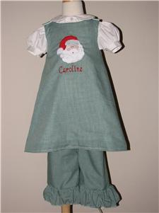 Custom Christmas Santa Set (green ging)