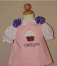 Custom Applique Birthday Cupcake Dress (purple)