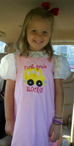 Custom Applique School  Bus Dress