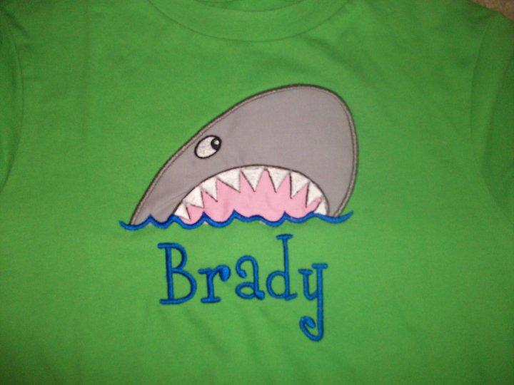 Custom Applique Shark Beach Shirt