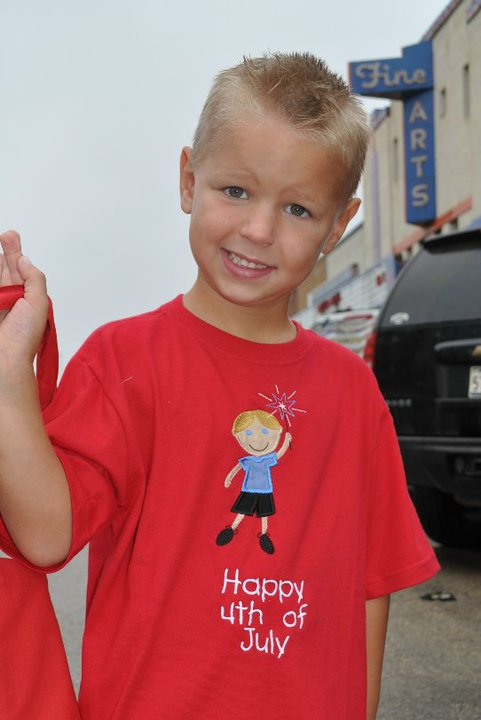 Custom Applique 4th of July Little Boy With Sparklers Shirt