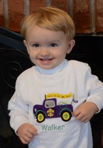 Custom Applique Mardi Gras Truck Shirt