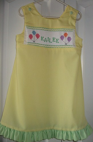 Custom Smocked Aline Birthday Name Dress