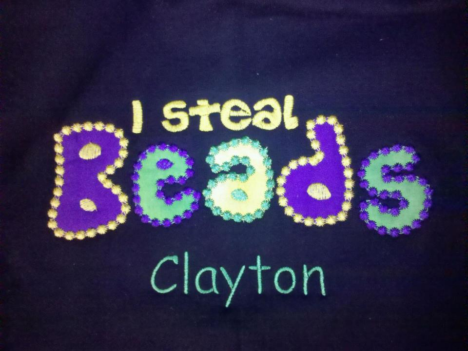 Custom Applique Mardi Gras I Steal Beads Shirt