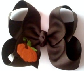 Custom Embroidered Pumpkin Hair Bow