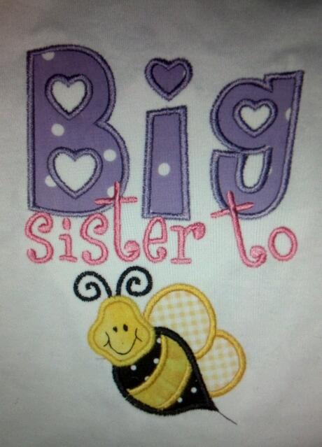 Custom Applique Big Sister To Bee Shirt