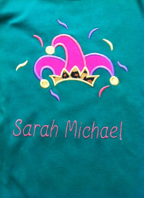 Custom Applique Jester Hat Mardi Gras Shirt