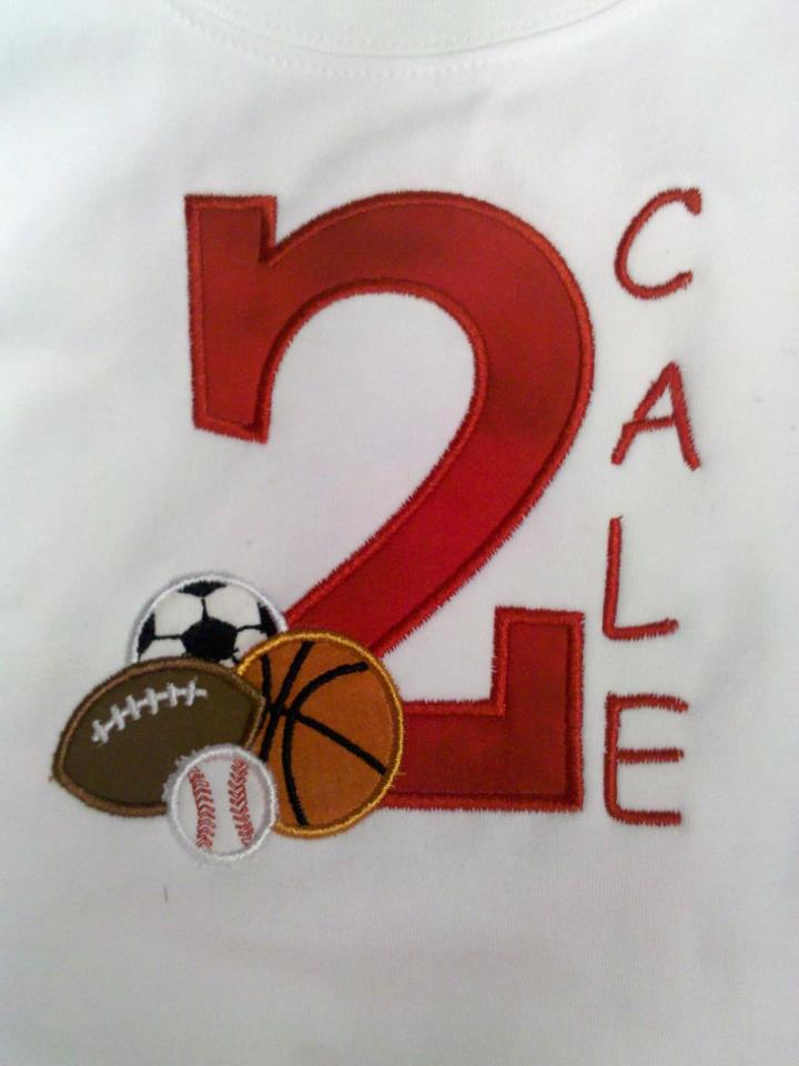 Custom Applique Sports Birthday Number Shirt