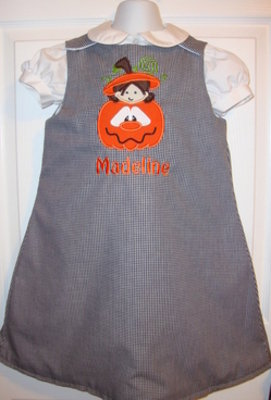 Custom Applique Halloween Little Girl In A Pumpkin Dress
