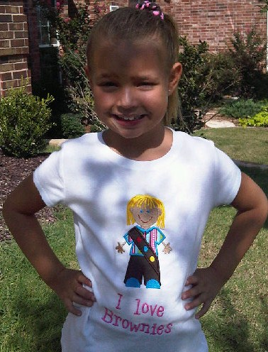 Custom Applique Brownie Girl Scout Shirt
