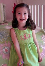 Garden Princess Pique Dress - Green with Hot Pink Trim