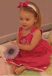Garden Princess Pique Dress - Hot Pink with White Trim