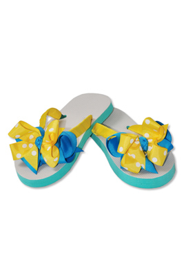 Kellys Kids Turquoise Yellow Ribbon Flip Flops