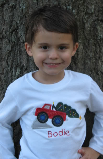 Custom Truck Christmas Tree Applique Shirt