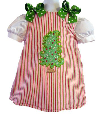Custom Applique Christmas Tree Dress