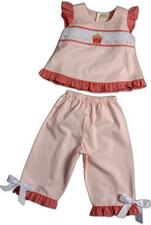 Rosalina Smocked Pink Birthday Cake Pant Set