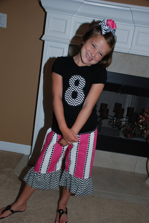 Custom Applique Pink and Black Birthday Number Outfit