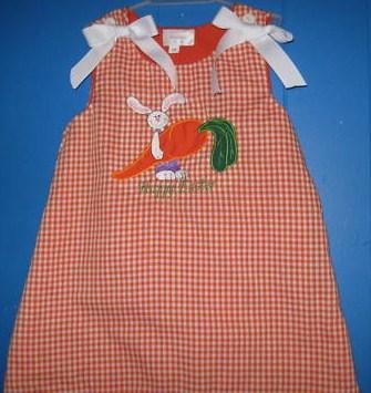 Custom Applique Easter Bunny Holding A Carrot Dress