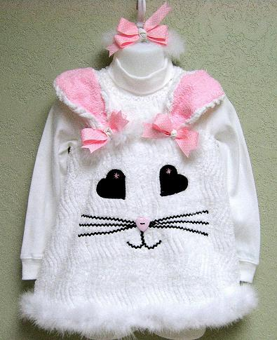 Custom Boutique Chenille Easter Bunny Dress