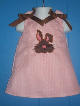Chocolate Bunny Applique Dress