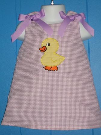 Custom Applique Easter Chick A Line Dress