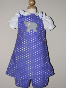 Custom Elephant dress & diaper cover set