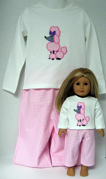 Boutique Custom Matching Poodle Lounge/Pajama Sets For Girl And Doll
