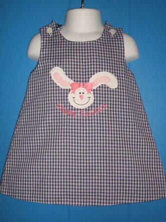 Gingham Easter Applique Dress
