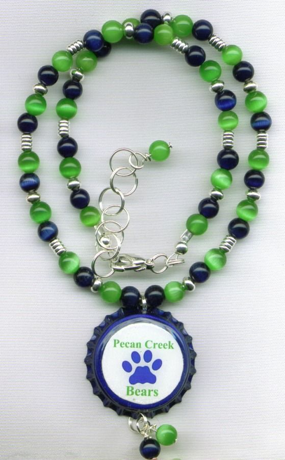 Pecan Creek Bears Beaded Bottle Cap Necklace
