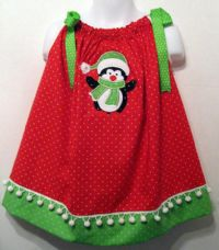 Custom Pillowcase Dress-Winter Penguin- Christmas