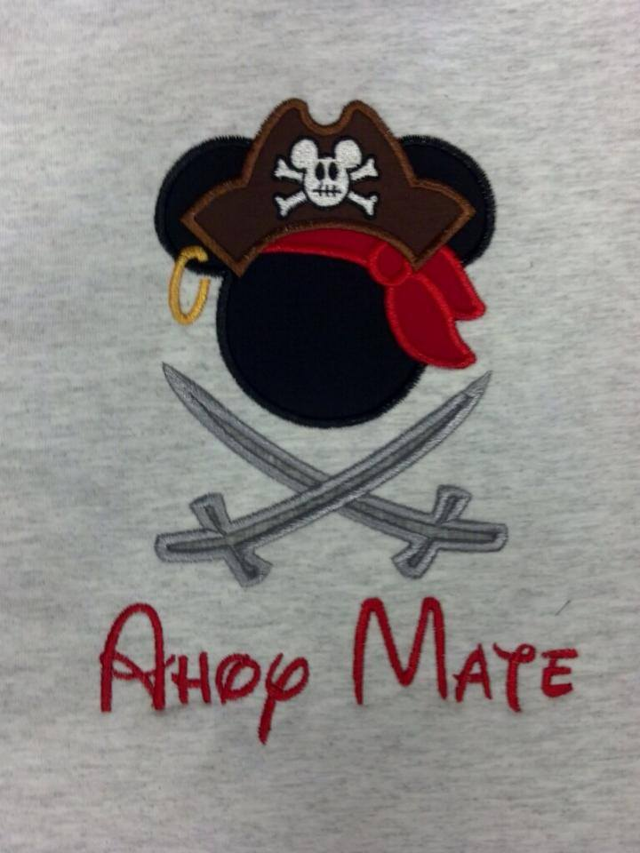 Custom Applique Vacation Pirate Mouse Shirt