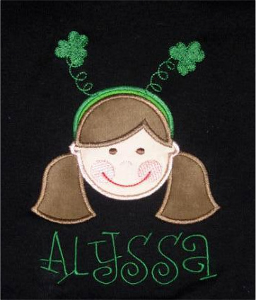 Custom Applique St. Patrick's Day Little Girl Shirt