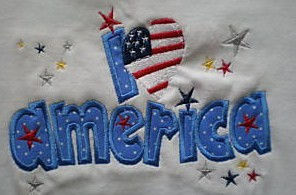 Custom I Love America 4th Of July Applique Shirt