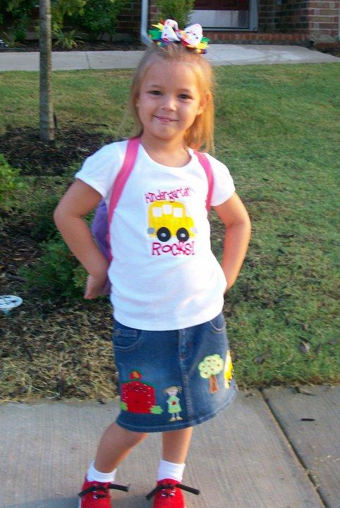 Custom Applique Kindergarten/Preschool  School Rocks! Shirt and Skirt Oufit
