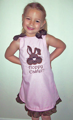 Custom Applique Easter Bunny - pink gingham