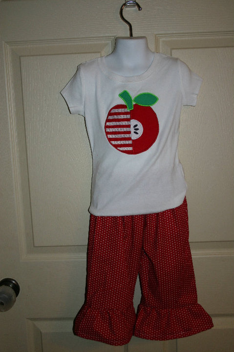 Custom Applique Apple School Shirt and Carpi's