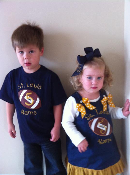 Custom Applique St. Louis Rams Football Shirt