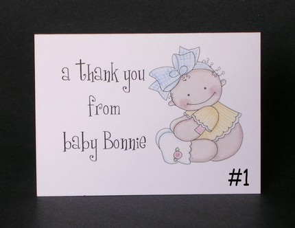 Personalized Baby Button Baby Note Cards